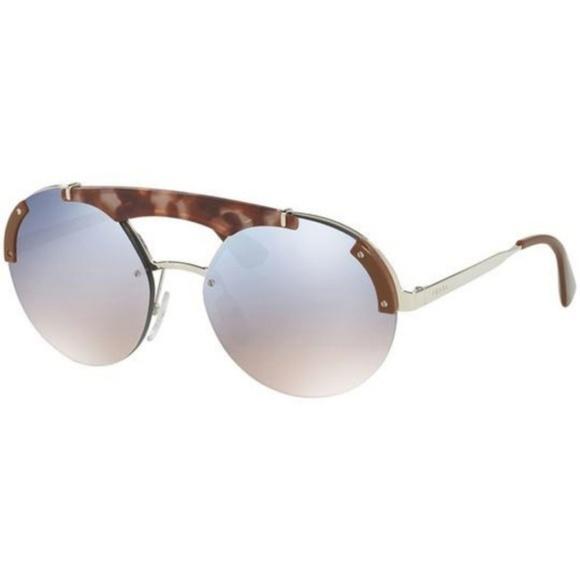 Prada Accessories - Prada Sunglasses Light Blue Silver Mirrored Lens